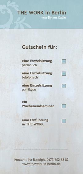 Gutschein - THE WORK - Hinten